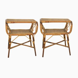 Bedside Tables in Bamboo, Italy, 1970s, Set of 2