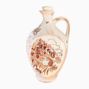 Handbemalte Vintage Wein- oder Essigflasche aus Keramik von Ulmer Keramik, 1970er