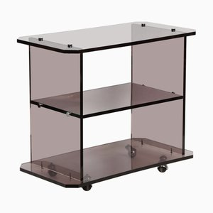 Vintage Smoked Lucite Trolley, 1980s