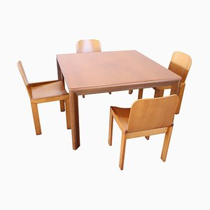 Swedish Dining Table with Four Chairs, 1970s, Set of 5