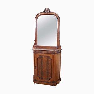 Mobiletto antico in noce con specchio, fine XIX secolo
