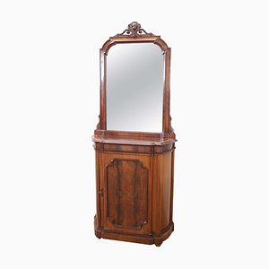 Small Antique Walnut Cabinet with Mirror, 1880s