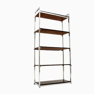 Vintage Wood & Chrome Bookcase from Pieff, 1970s