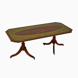 Antique Regency Style Wood & Leather Coffee Table