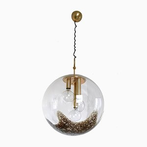 Large Blown Glass Globe Pendant Lamp with Pulegoso Parts from La Murrina, Italy, 1970s