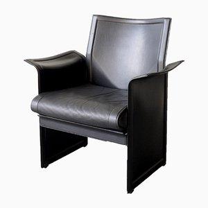 Italian Black Leather Korium Armchair by Tito Agnoli for Matteo Grassi