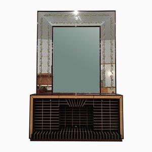 Italienisches Mid-Century Sideboard oder Barschrank mit Spiegel von Luigi Brusotti, 1940er