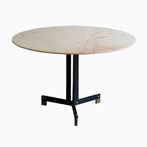 Round Italian Table with Marble Top by Ignazio Gardella
