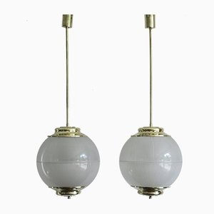 Italian Glass Pendant Lamps from Chiaravallotti, 1960s, Set of 2