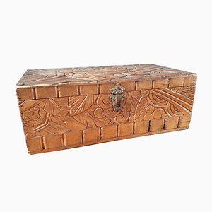 Art Deco Carved Wooden Jewelry Box