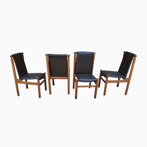 Chairs in Light Wood & Leather by Ilmari Tapiovaara for La Permanente Mobili Cantù, Set of 4