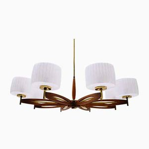 Lamp in Teak, Brass and Glass, Sweden, 1960s