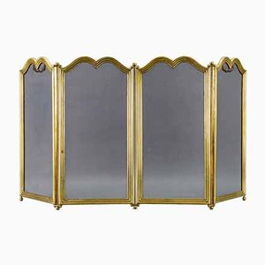 Vintage Brass Four Sections Fireplace Screen