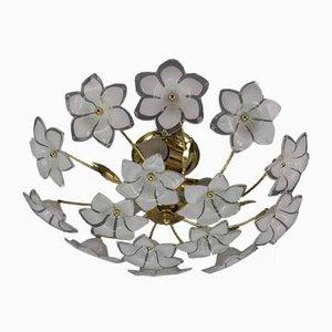White Murano Glass Flower Ceiling Lamp from Honsel Leuchten, 1970s