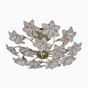 Vintage White and Pink Murano Glass Flower Ceiling Lamp