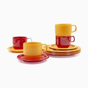 Vintage Frühstücksservice in Rot & Gelb von EMSA, 12er Set