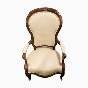 White Solid Wood Armchair