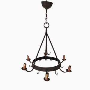 6-Light Wrought Iron Chandelier, 1920s