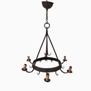 Lámpara de araña de hierro forjado con seis luces, años 20