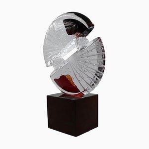 Große abstrakte Glasskulptur von Pino Signoretto, Murano, Italien