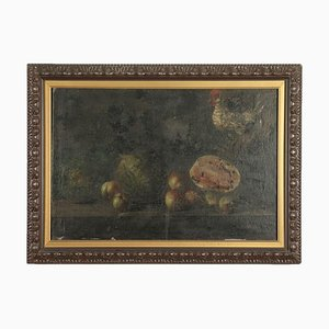 Still Life With Fruit and Chicken, Oil on Canvas