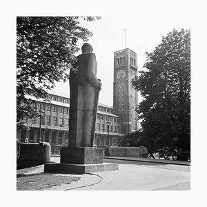 Bismarck Monument View to Deutsches Museum, Munich Germany, 1937