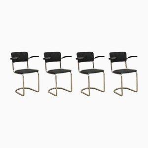 Vintage Dutch Model 208 Dining Chairs by Willem Hendrik Gispen for Gispen, Set of 4