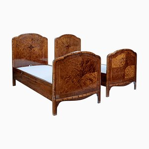 Early 20th Century Inlaid Birch Single Beds, Set of 2