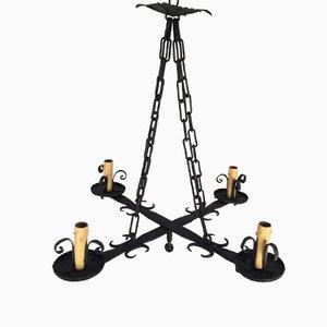 Lámpara de araña con base cruzada de hierro forjado, años 10