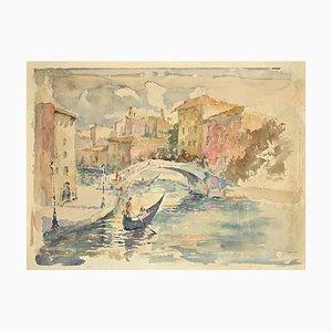 Unbekannt, Blick auf den Kanal in Venedig, Zeichnung, Mitte des 20. Jh