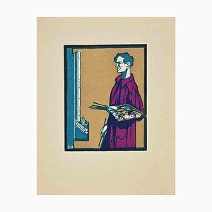 Ebba Holm, der Maler, Holzschnitt, 1925