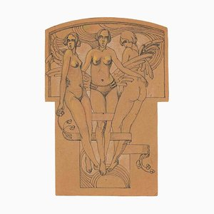 Unknown, Caryatids, Study for Bas-Relief, Drawing, Early-20th Century