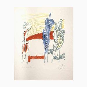 Antonio Vangelli, Drei Farbige Figuren, Lithographie, 1970er
