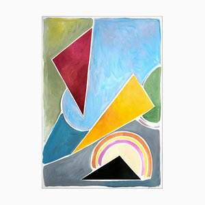 Constructivist Triangles in Pastel Primary Tones, Abstract Geometric Shapes, 2021