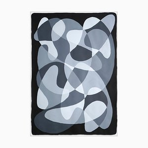 Black and White Curvy Flow, Shapes and Layers Gemälde, Papier, 2021
