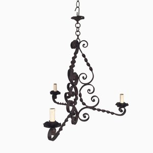 Wrought Iron Chandelier with 3 Candleholders, 1900