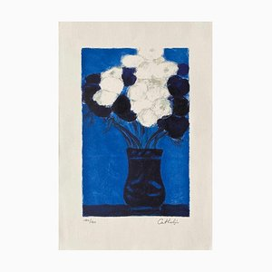 Anémonas azules y blancas de Bernard Cathelin, 1995