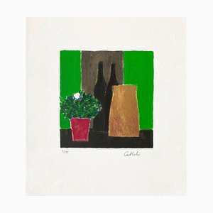 Nature Morte Verte et Noire à Gardenia par Bernard Cathelin, 1995
