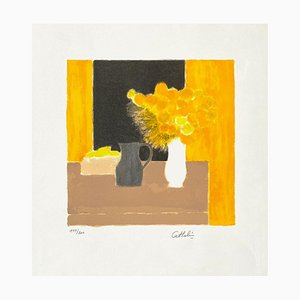 Still Life amarillo y negro de Bernard Cathelin, 1990
