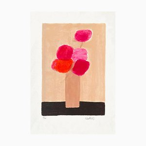 Red and Pink Bouquet at the Black Table by Bernard Cathelin, 1995
