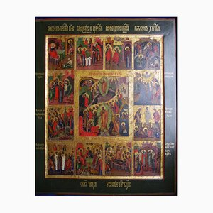 The Ancient Temple Icon Twelve Feasts of High Lettering, 18th Century