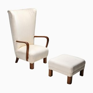 White Wingback Chair with Ottoman, Set of 2