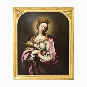Religious Painting, Saint Catherine, 1600s, Oil on Canvas
