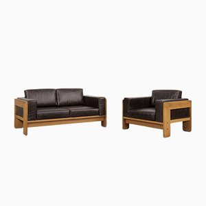 Vintage Modernist Bastiano Leather Living Room Set by Tobia Scarpa for Haimi, 1960s, Set of 2