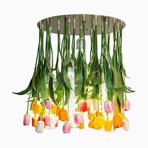 Großer runder Flower Power Tulip Kronleuchter von Vgnewtrend, Italien
