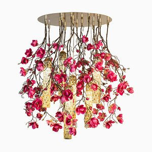 Large Flower Power Fuchsia Magnolia Round Chandelier with 24k Gold Pipes from Vgnewtrend, Italy