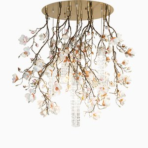Large Flower Power Pink-Cream Magnolia Round Chandelier from Vgnewtrend, Italy