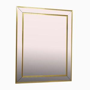 Mid-Century Spiegel mit Rahmen aus verchromtem Metall & vergoldetem Aluminium, 1970er
