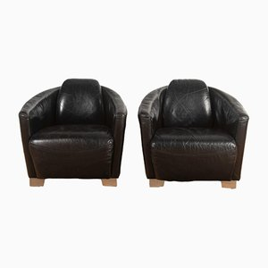 Leather Aviator Club Chairs, Set of 2