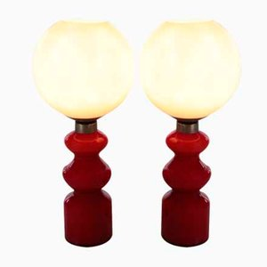 Red and White Glass Table Lamps, Set of 2